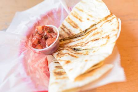 Ground Beef Quesadilla from BTB Burrito/ Good Time Charley's in Ann Arbor, MI