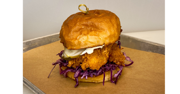 Nashville Hot Fried Fish Sando from Duck Lips Fried Chicken in Madison, WI