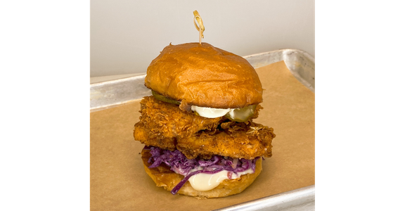 Nashville Hot Fried Tofu Sando (V) from Duck Lips Fried Chicken in Madison, WI