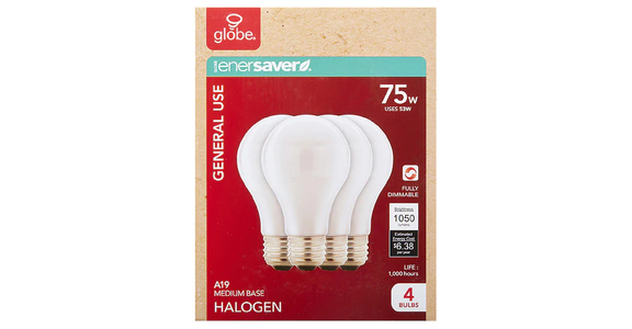 GLOBE Halogen Soft White Bulb 75W (4 ct) from EatStreet Convenience - Branch St in Middleton, WI