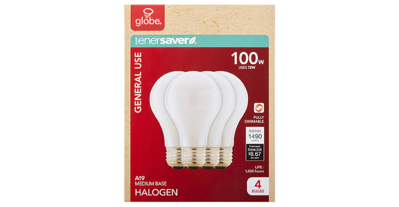 GLOBE Halogen Soft White Bulbs 100W (4 ct) from EatStreet Convenience - N Port Washington Rd in Glendale, WI