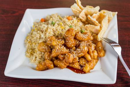 #22. Sesame Chicken with Veggie Fried Rice from Five Star Eggrolls in La Crosse, WI