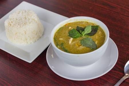 #33. Green Curry with Steamed Rice from Five Star Eggrolls in La Crosse, WI