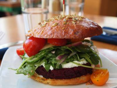Beet & Walnut Burger from Graze in Madison, WI