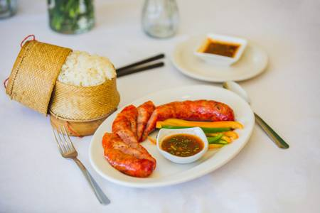 11. Hmong Sausage with Sticky Rice from Hmong's Golden Egg Roll in La Crosse, WI