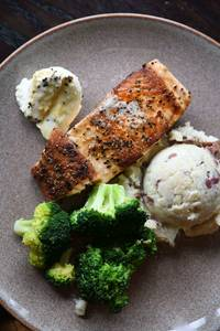 Grilled Atlantic Salmon (GF) from Iron Rail Brewing in Topeka, KS