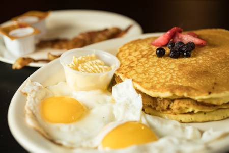 Pancakes with 2 Eggs & Meat from Judy's Kitchen in New Brunswick, NJ