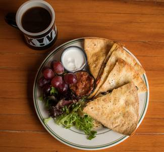 Black Bean Quesadilla from Kavarna Coffeehouse in Green Bay, WI