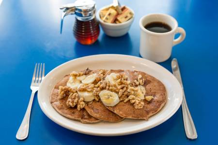 Vegan Banana Walnut Pancakes from Monty's Blue Plate Diner in Madison, WI