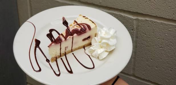 Raspberry White Chocolate Cheesecake from Powercat Sports Grill in Manhattan, KS