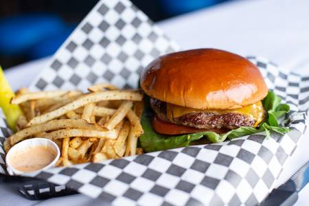 Choose Your Cheese Burger from Quinton's  Bar & Deli in Lawrence, KS