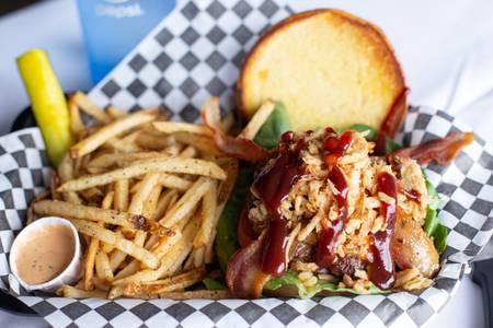 Cowboy Burger from Quinton's  Bar & Deli in Lawrence, KS