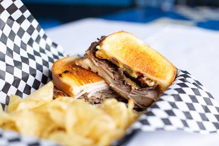 The Smokestack Sandwich from Quinton's  Bar & Deli in Lawrence, KS