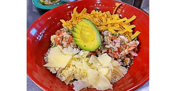 Shrimp Ceviche Caesar Salad from Silly Serrano Mexican Restaurant in Eau Claire, WI