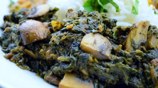Mushroom Saag (V) (GF) from Star Of India Tandoori Restaurant in Los Angeles, CA