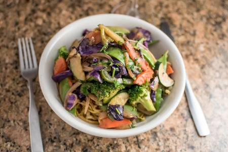Crispy Thai Peanut Noodle Bowl from Sunroom Cafe in Madison, WI