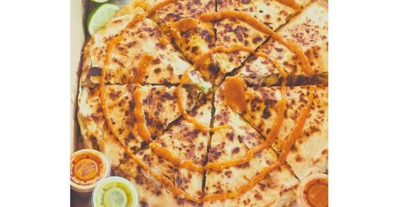 Pizza Dilla: Carnitas Fiesta from Taqueria Maldonado's - Main Street in Green Bay, WI