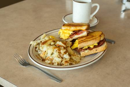 Ham, Egg and Cheese Melt Breakfast from The Pancake Place in Green Bay, WI