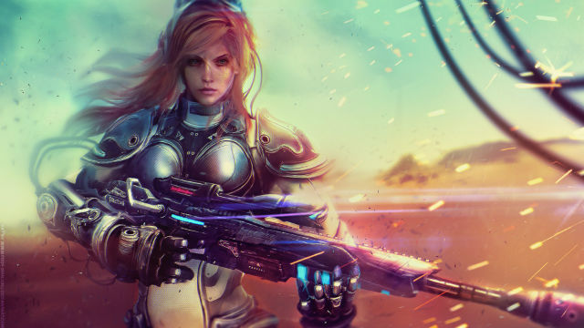 StarCraft's Kerrigan with a sniper rifle.