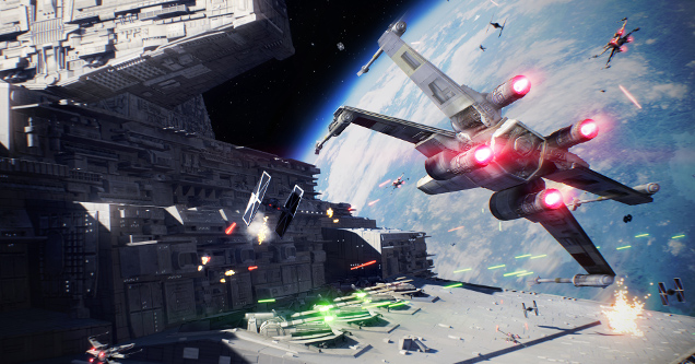 Outerspace screen grab from Star Wars Battlefront II video game