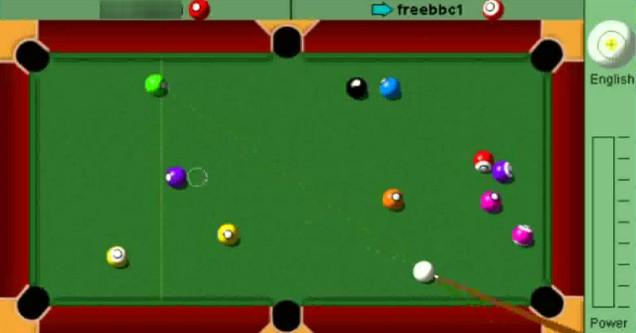Yahoo Pool screen grab of the video game