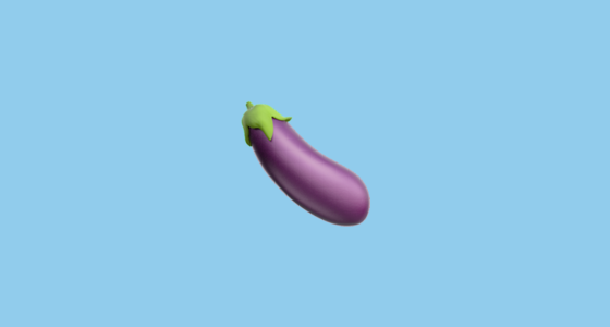eggplant emoji in front of a blue background