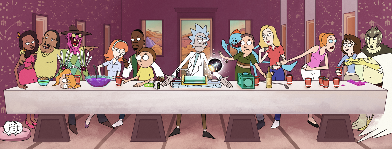 The Last Supper recreated as cartoon drawing with Rick and Morty characters