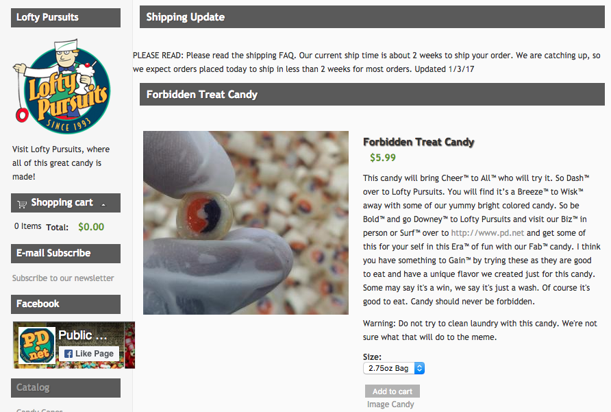 Screenshot from Lofty Pursuits website selling Forbidden Treat candy that looks like Tide Pods