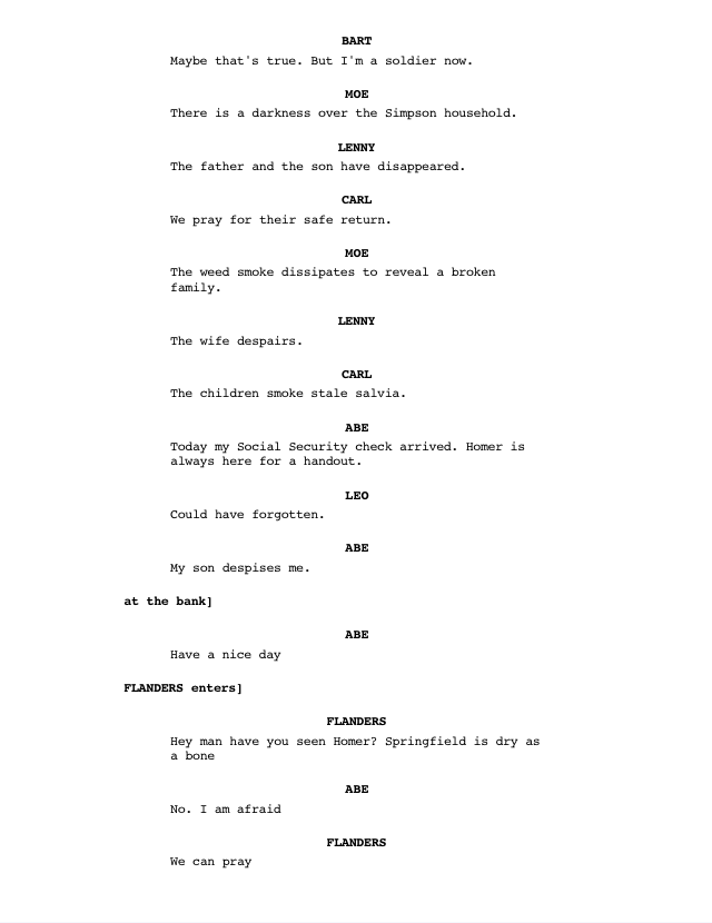 page from Simpsons Marijuana script