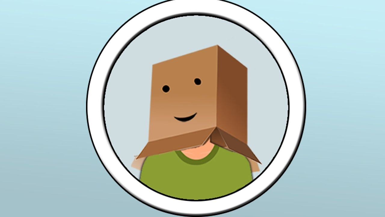 Canadian introvert with box on head