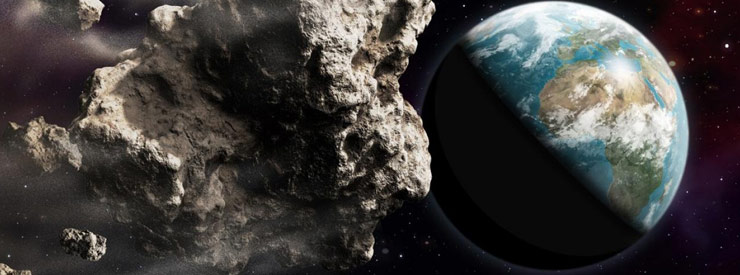 I gigantic asteroid passes by planet earth