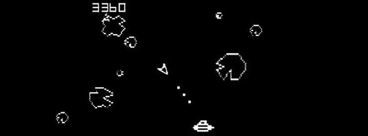 a screenshot of the classic video game asteroids