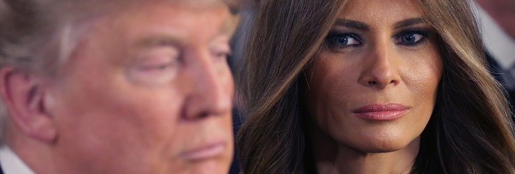 president donald j trump being glared at by his wife and first lady melania trump
