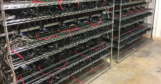 A PC gaming crypto mining rig.