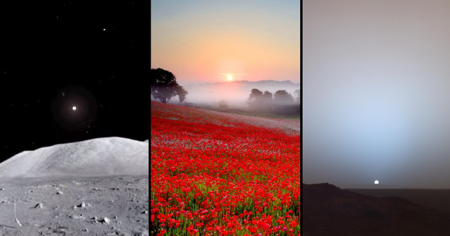 Photos of sunsets on Moon, Earth, and Mars.