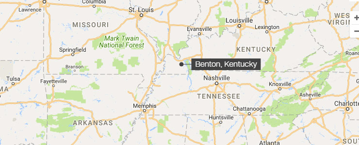 a map of kentucky with the town of benton marked with a black dot and white text