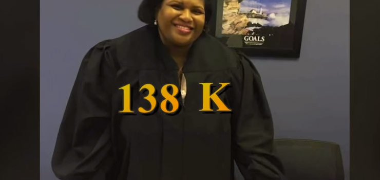 Judge Khalilia Davis wearing judge's robes with text that reads 138K