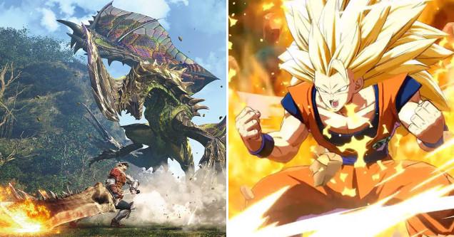Monster Hunter World and Dragon Ball FighterZ art.