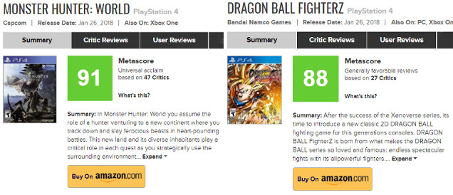 Monster Hunter: World and Dragon Ball FighterZ reviews.