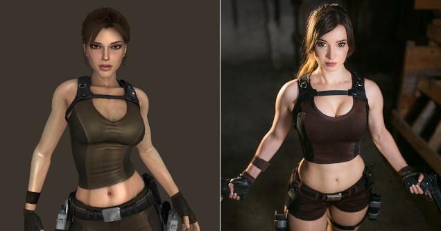 Lara Croft cosplay comparison.