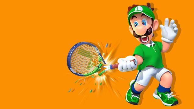 Luigi playing tennis.