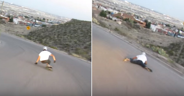 Longboarder launches off cliff.