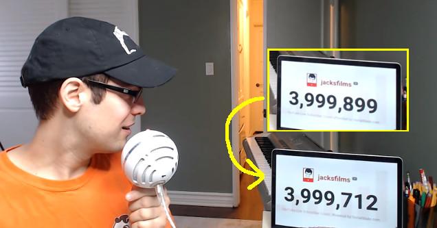 Jacksfilms livestream 4 million subscriber milestone.