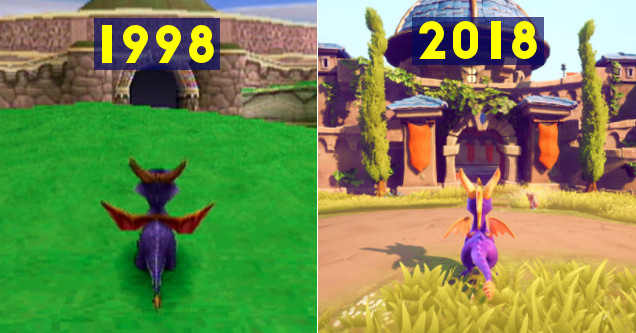 Spyro the Dragon Remastered PS4 then vs now comparison.
