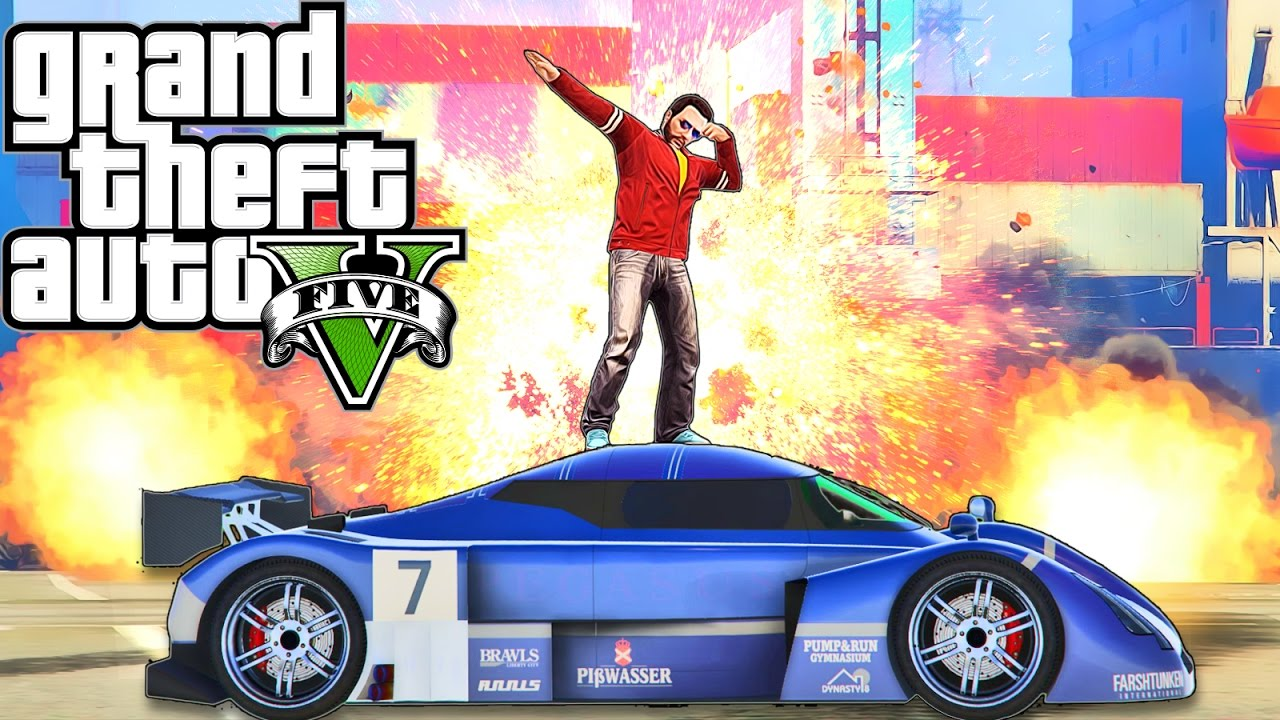 Grand Theft Auto V guy dabbing on car.