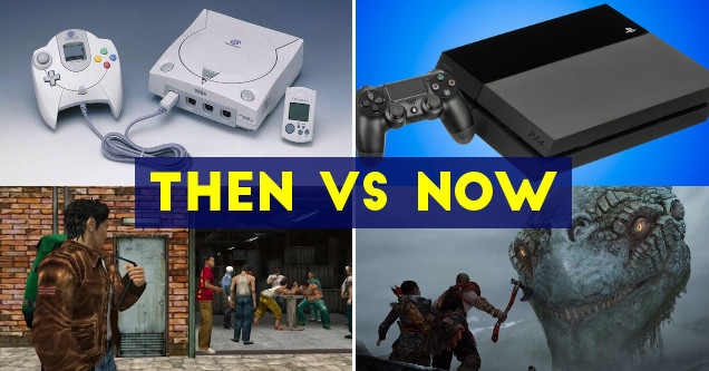 Then vs now game graphics Dreamcast and PlayStation 4.