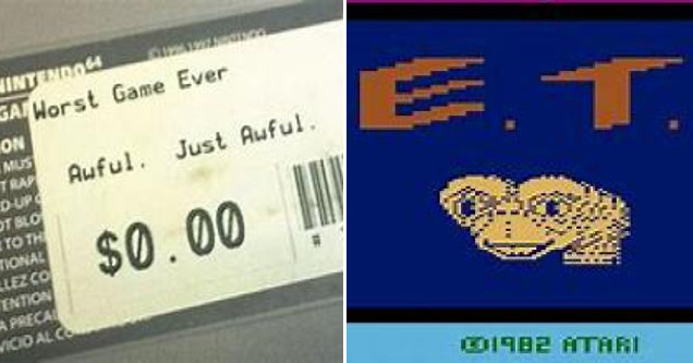 Worst game ever barcode sticker and E.T.