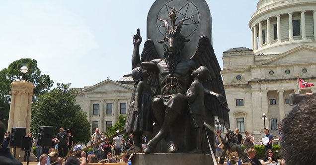 8 foot tall statue of Baphomet erected outside the capital in Little Rock, Arkansas