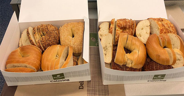 St. Louis bagels sliced like bread from Panera
