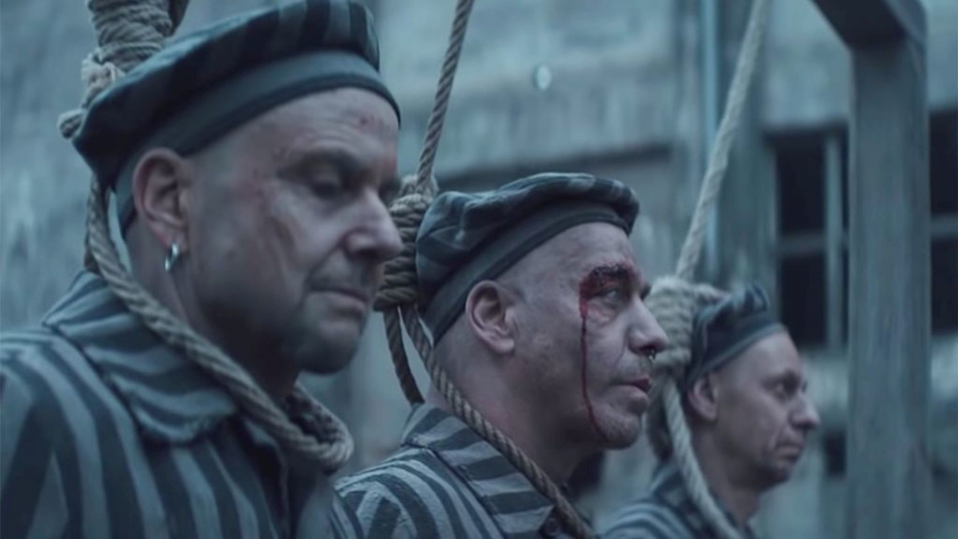 German band Rammstein dressed as Nazi concentration camp prisoners in new video for Deutschland